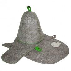 Банный набор  (шапка, рукавица, коврик) войлок серый арт.Б16-1