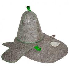 Комплект банный подарочный (шапка, рукавица, коврик) войлок серый арт.Б1516