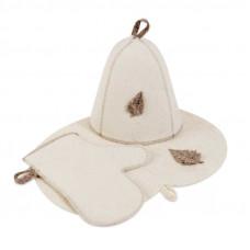 Комплект банный войлочный (шапка, рукавица, коврик) арт.Б16