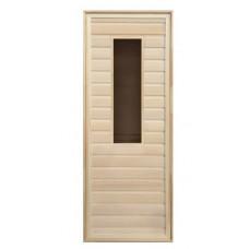 Дверь для бани деревянная с прямоугольным стеклом 1900х700мм