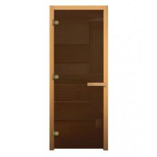 Дверь для бани стеклянная 1800х700 (бронза, 3 петли, 8мм)